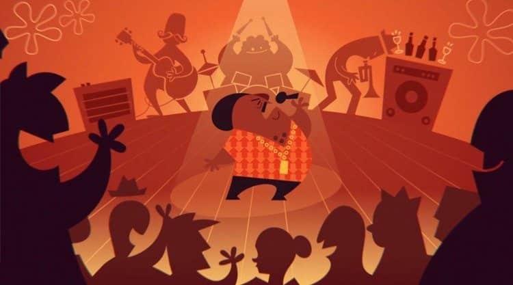 cartum mostrando Tim Maia e banda em concerto