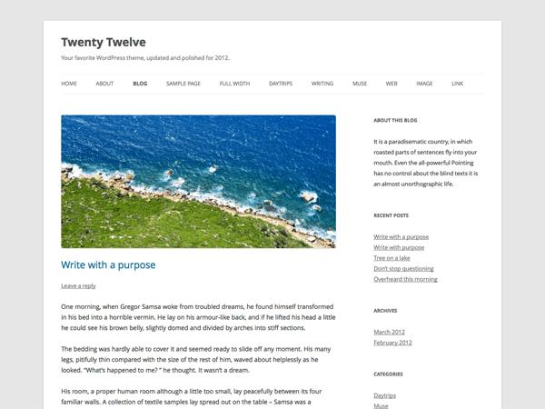 Wordpress 10 anos - 10 temas/templates de WordPress: Twenty Twelve.