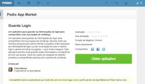 Tela do aplicativo Guarda Login no Podio Marketplace