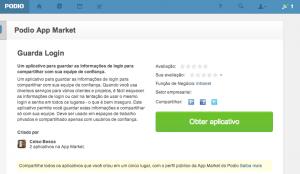 Tela do aplicativo Guarda Login no Podio Marketplace