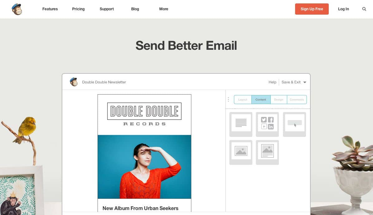 Mailchimp's homepage and wonderful interface