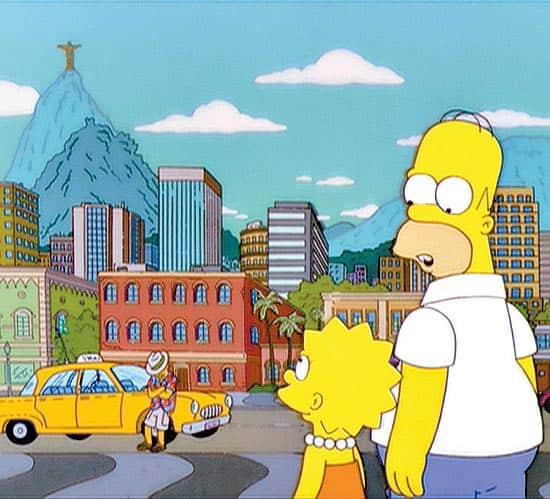 Homer e Lisa Simpson no Rio de Janeiro
