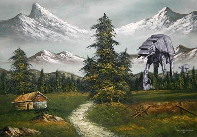 "Personagens de Guerra nas Estrelas (Star Wars) em pinturas de ""bazar de caridade"""