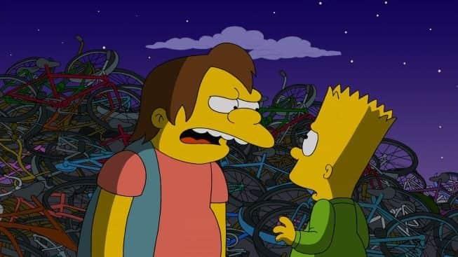 Bart Simpson e Nelson Muntz em episódio que homenageia os Selvagens da Noite (The Warriors)