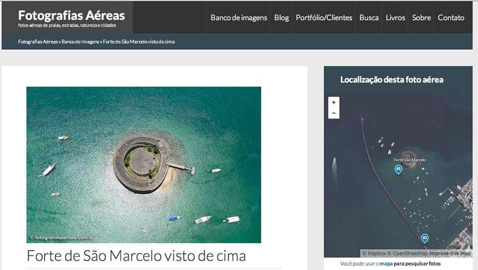 Foto aérea e mapa via satélite do Forte de São Marcelo no site Fotografias Aéreas