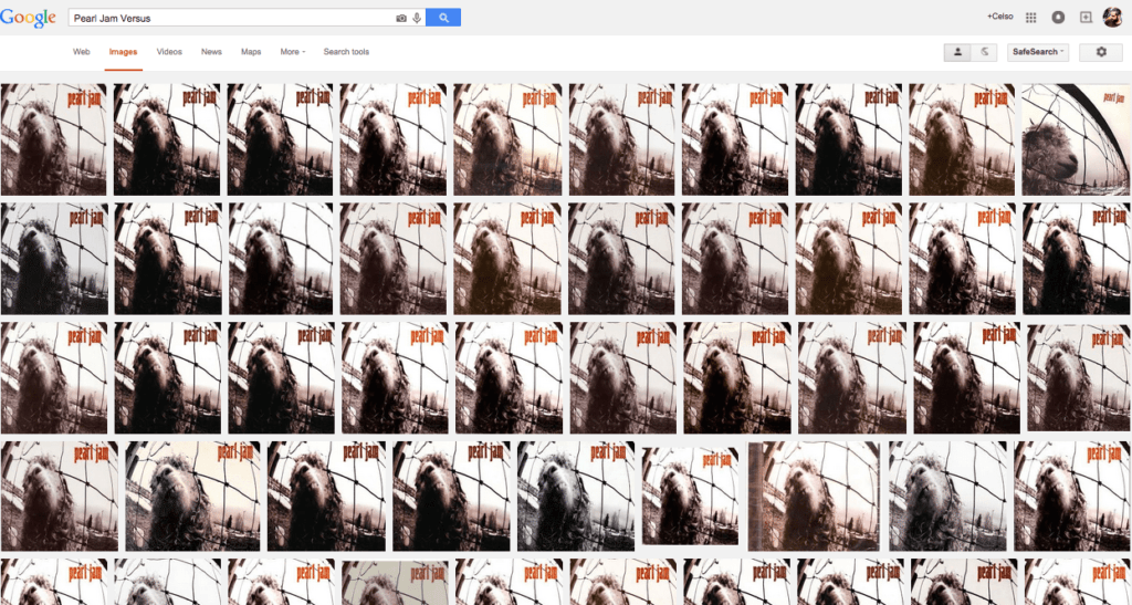 Página de resultados meio bizarra para Pearl Jam Versus no Google Imagens traz apenas a capa, mas no vinil havia outras fotos