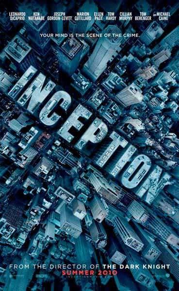 Cartaz do filme A Origem (Inception), com foto aérea do brasileiro Cássio Vasconcellos