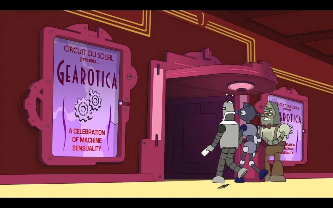 Entrada de casa de shows chama atenção para o espetáculo Gearotica, cujo símbolo são engrenagens (Gear) fazendo, trocadilho com erótica.