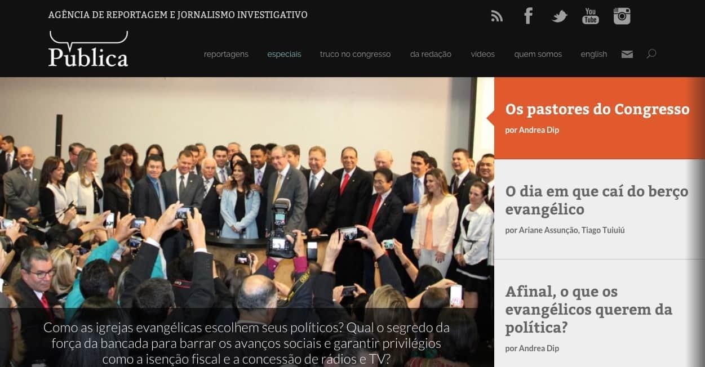 Grupo de políticos da bancada religiosa em foto no site da agência A Pública