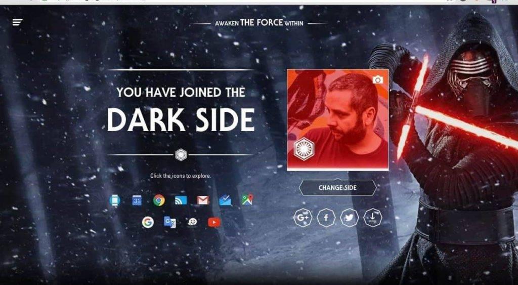 Customize seu avatar em Awake the Force: site especial Guerra Nas Estrelas - O Despertar da Força no Google