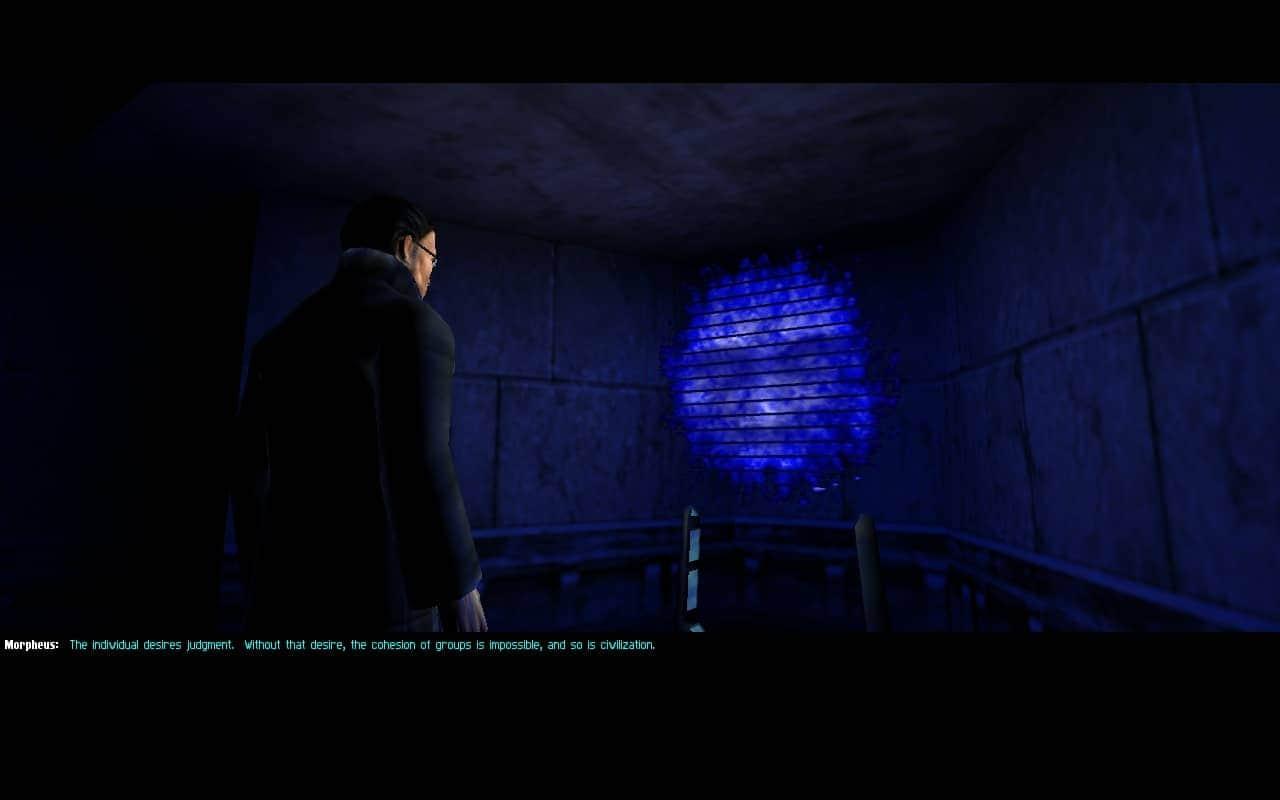 Homem de casaco e óculos escuro conversa com um rosto etéreo