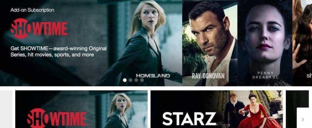 Cartazes de séries na página principal do site Amazon Prime