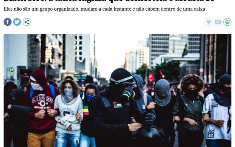 diversos manifestantse em foto na página do artigo Black bloc: a tática fugidia que desnorteia e assusta SP no El País