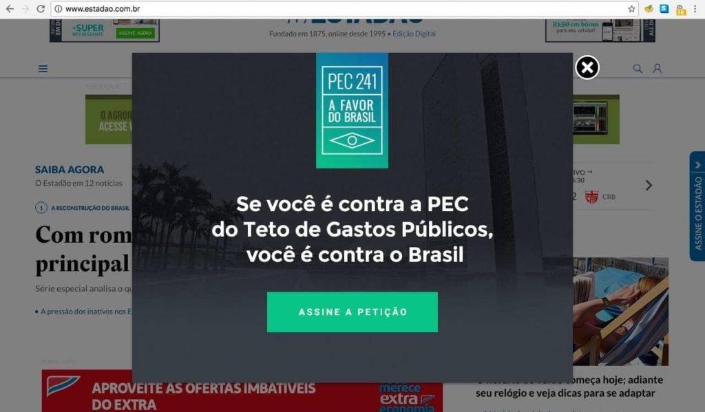 popup no site estadao.com.br