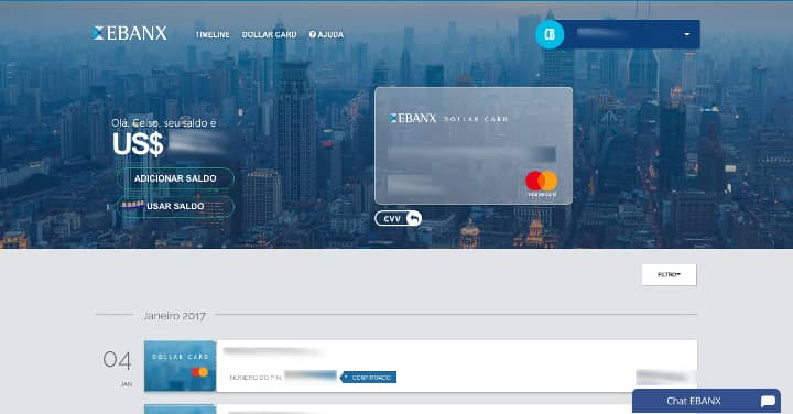 lista de operações Dollar Card Ebanx abaixo de imagem de cartão de crédito sobre fundo mostrando uma cidade iluminada