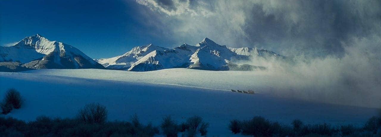 carruagem puxada a cavalos fugindo de nevasca em montanha