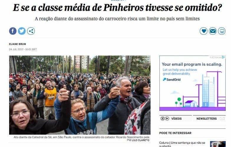 reproduçao de tela com foto de multidão em rua e os dizeres: E se a classe média de Pinheiros tivesse se omitido? A reação diante do assassinato do carroceiro risca um limite no país sem limites