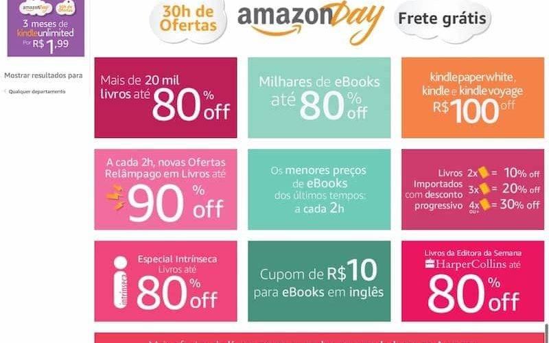 site da Amazon Day Brasil 2017. Com várias promoções tentadoras da Amazon brasileira
