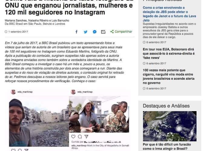 Artigo no site da BBC com a chamada Como ruiu a história do falso fotógrafo da ONU que enganou jornalistas, mulheres e 120 mil seguidores no Instagram
