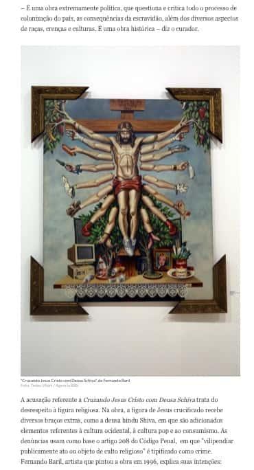 Jesus crucificado com vários braços extras de diferentes etnias e vários objetos ao redor