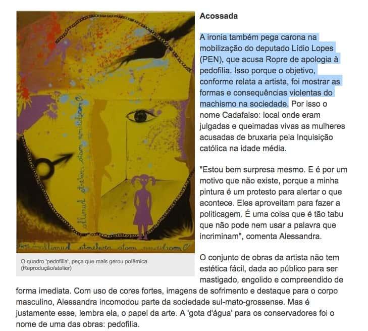 Site Campo Grande news, reproduzindo obra do artista