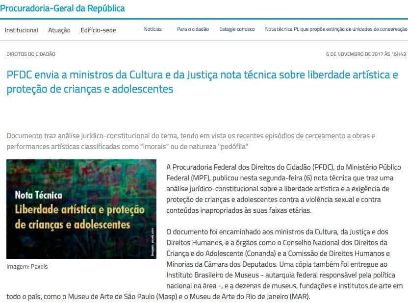 Site do Ministério Público Federal com manchete PFDC envia a ministros da Cultura e da Justiça nota técnica sobre liberdade artística e proteção de crianças e adolescentes