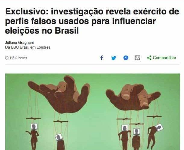 Site da BBC Brasil com ilustração de marionetes