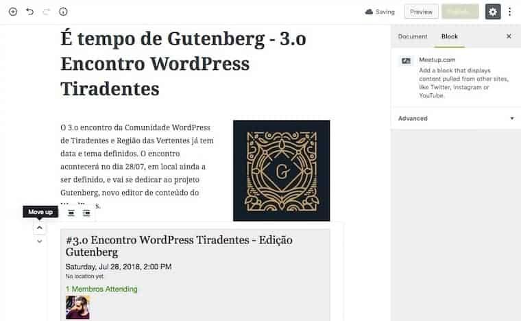 Textos, imagens e outros elementos no editor Gutenberg - do WordPress