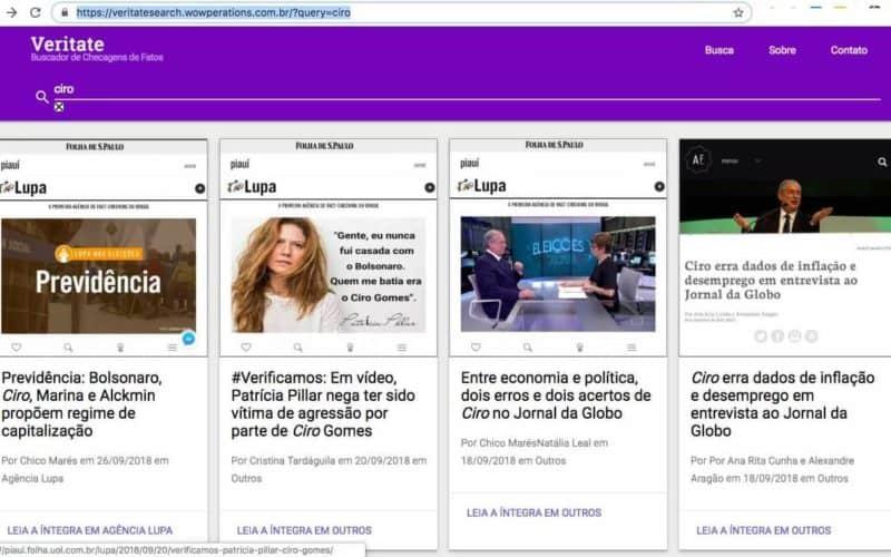 Tela do buscador/agregador de checkagem de fatos Veritate mostrando notícias falando de Ciro Gomes