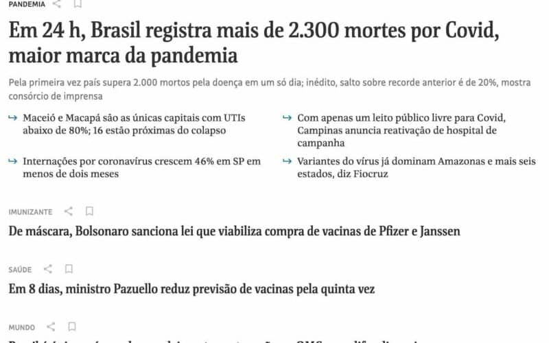 Parte superior da primeira página do site Folha de São Paulo com diversas notícias tristes. Em destaque: - Em 24 h, Brasil registra mais de 2.300 mortes por Covid, maior marca da pandemia - De máscara, Bolsonaro sanciona lei que viabiliza compra de vacinas de Pfizer e Janssen saúde - Em 8 dias, ministro Pazuello reduz previsão de vacinas pela quinta vez mundo - Brasil é único país em desenvolvimento contra ação na OMC para difundir vacinas