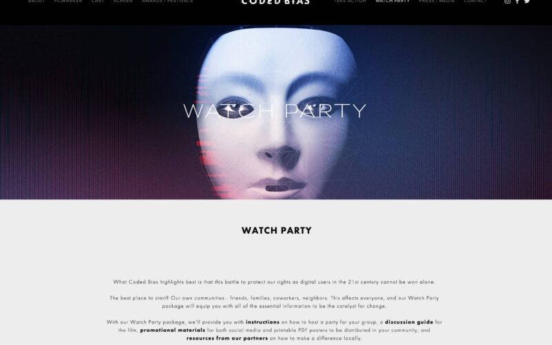 a website showing up a digital white face with some geometric shapes over it and the text about doing a watch party